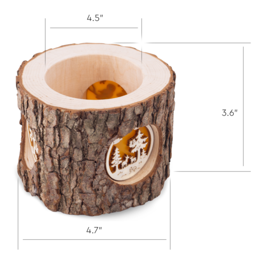 Wood Tealight Candle Holder with Three Scenes