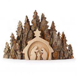 Rustic Nativity Scene Made with Bark