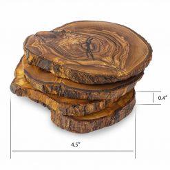 Wood Coasters Round Set of 4