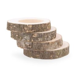 Wooden Napkin Rings Set of 4, Wood Slices Design
